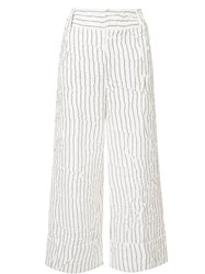 Derek Lam 10 Crosby Striped Cropped Trousers White