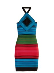 Balmain Halterneck Striped Mini Dress Multi