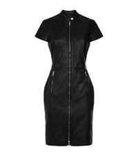 Set Fitted Leather Dress Black
