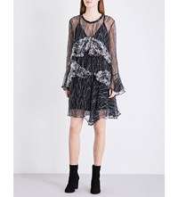 Iro Gypsy Ruffled Chiffon Dress Black White