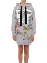 Moschino Hooded Printed Cotton Sweatshirt Dress