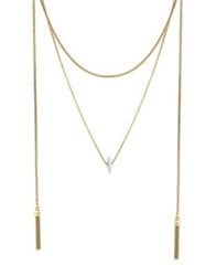 Lucky Brand Poets Garden Crystal Layer Lariat Necklace Gold