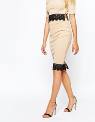 Michelle Keegan Loves Lipsy Ribbed Pencil Skirt With Lace Hem Nude