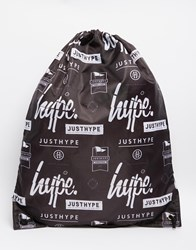 Hype Logo Drawstring Backpack Black