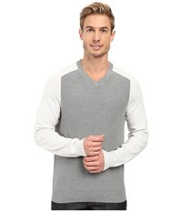Perry Ellis Color Block V Neck Sweater Smoke Heather Men's Sweater Gray