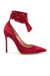 Gianvito Rossi Suede Bow Pumps In Red