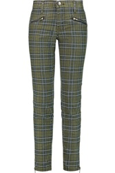 Current Elliott The Soho Plaid Print Coated Low Rise Skinny Jeans Green
