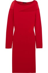 Donna Karan Tulle Paneled Stretch Ponte Dress Red