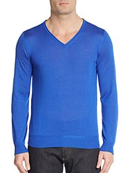 Canali Cashmere And Silk V Neck Pullover Blue