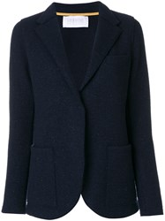 Harris Wharf London Textured Blazer Women Silk Polyamide Viscose Virgin Wool 40 Blue