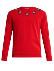 Givenchy Star Applique Cotton Sweater Red Multi