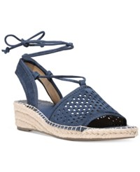 Franco Sarto Liona Lace Up Espadrille Wedge Sandals Women's Shoes Navy