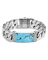 John Hardy Sterling Silver Classic Chain Turquoise With Black Matrix Id Bracelet Blue Silver
