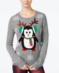 Almost Famous Juniors' Penguin Holiday Sweater Dark Heath
