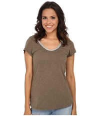 Dylan By True Grit Vintage Bead Short Sleeve Tee Cargo Women's T Shirt Taupe