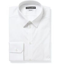 Dolce And Gabbana White Gold Fit Cotton Blend Shirt