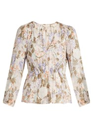 Rebecca Taylor Penelope Rose Print Silk And Cotton Blend Blouse Beige Multi