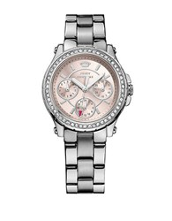 Juicy Couture Ladies Silvertone Crystallized Pedigree Watch