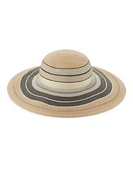 Vince Camuto Striped Woven Sun Hat Natural