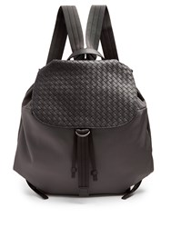 Bottega Veneta Canvas And Intrecciato Leather Backpack Grey
