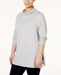 Stoosh Plus Size Long Sleeve Relaxed Turtleneck Top Grey