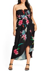 City Chic Plus Size Women's Succulent Faux Wrap Convertible Maxi Dress