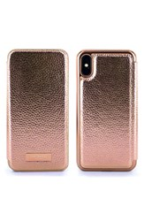 Ted Baker London Fenela Faux Leather Iphone X Mirror Folio Case Pink Rose Gold