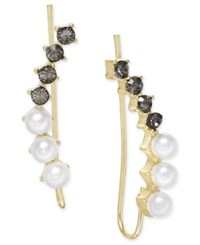 Inc International Concepts Gold Tone Black Crystal Imitation Pearl Ear Climber Earrings Only At Macy's