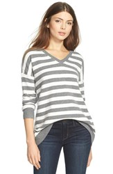 Women's Hinge Split Back Boyfriend Sweater Grey Dark Heather Stripe
