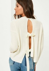 Missguided White Tie Back Jumper Ivory