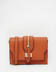 Liquorish Mini Cross Body Bag With Zip Detail Tan