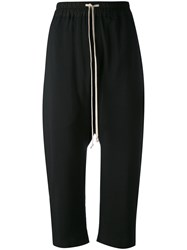 Rick Owens Drop Crotch Cropped Trousers Women Silk Cotton Cupro Wool 44 Black