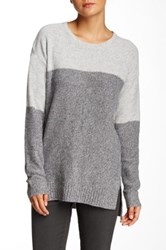 Cullen Marled Colorblock Cashmere Tunic Sweater Gray