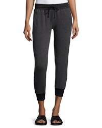 Solow Cropped Terry Lined Track Pants Gray