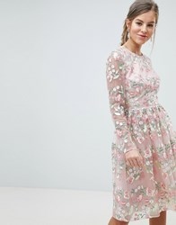 Chi Chi London Premium Embroidered Floral Long Sleeved Midi Prom Dress With Open Back Pink Multi