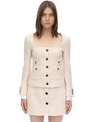 Alessandra Rich Lacquered Button Tweed Jacket Ivory