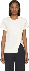 Cedric Charlier Ecru And Nude Asymmetrical Top