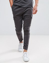 Brave Soul Gathered Cargo Trousers Grey