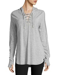 Nanette Lepore Lace Up Hooded Shirt Grey Heather