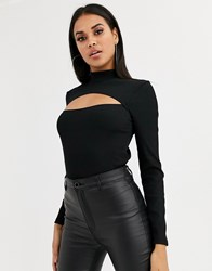 Ivyrevel Long Sleeve Cutout Top In Black