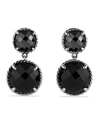 Chatelaine Double Drop Earrings With Black Onyx And Hematine David Yurman Silver