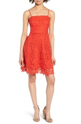 Soprano Lace Fit And Flare Dress Candy Red