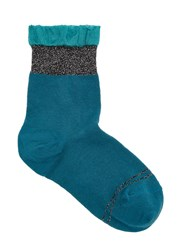 Pierre Mantoux Green Ruffle Trim Cotton Blend Socks