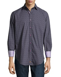 Thomas Dean Mini Paisley Print Long Sleeve Sport Shirt Purple