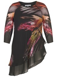 Chesca Feather Print Tunic Top Black