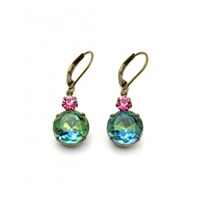 Zt Sapphire Green And Rose Pink Vintage Jewel Earrings