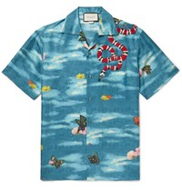 Gucci Camp Collar Appliqued Printed Silk Shirt Blue