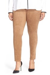 Lysse High Waist Faux Suede Leggings Plus Size Beige