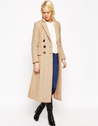 Asos Coat In Midi Length With Raw Edge Peach