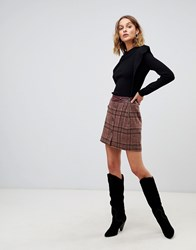 Moon River Skirt Co Ord In Oversize Check Brown Plaid